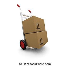 cajas, camión, mano
