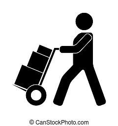 cajas, camión, mensajero