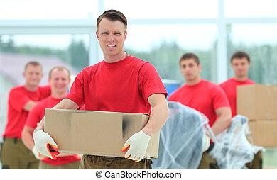 cajas, capataz, materiales de construcción, trabajadores