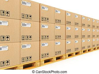 cajas, cardbaord, apilado, paletas, envío