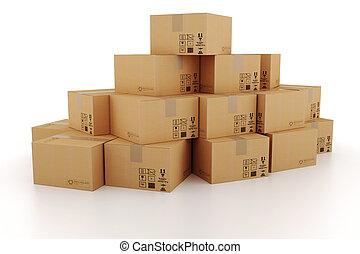 cajas, cartón, 3d