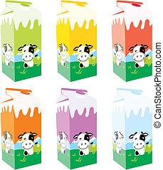 cajas, cartón, aislado, leche