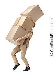 cajas, cartón, apenas, lleva, hombre