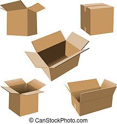 cajas, cartón, conjunto