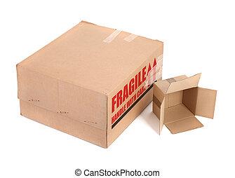 cajas, cartón, dos