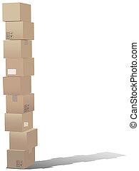 cajas, cartón, pila, envío
