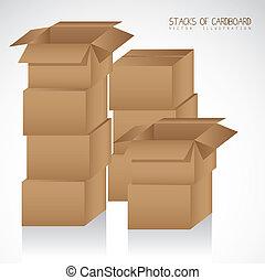 cajas, cartón, pilas