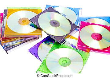 cajas, colorido, cds