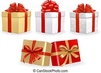 cajas, colorido, conjunto, regalo, vector