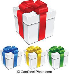cajas, conjunto, arcos, regalo, ribbons.