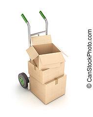 cajas de cartón, en, camión de mano