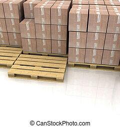 cajas de cartón, en, de madera, paletas