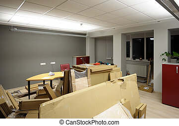 cajas de cartón, en, oficina