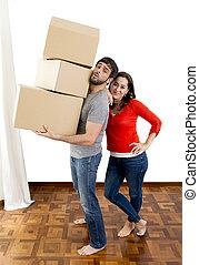 cajas de cartón, pareja, casa, mudanza, proceso de llevar, feliz, juntos, nuevo