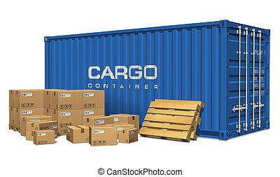 cajas de cartón, y, contenedor carga