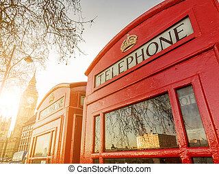 cajas de teléfono, y, el, torre de reloj, en, londres