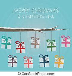 cajas del regalo, cuelgue, en, guita, árbol
