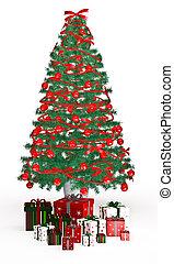 cajas del regalo, debajo, árbol de navidad, blanco