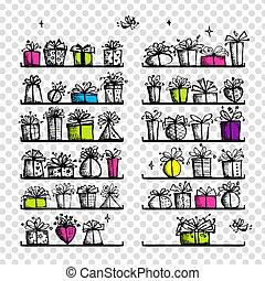 cajas, dibujo, su, regalo, bosquejo, diseño, estantes