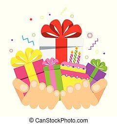 cajas, dos, regalo, manos