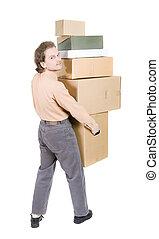 cajas, hombre
