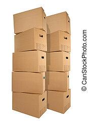 cajas, mudanza, dos, pilas