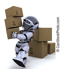 cajas, mudanza, robot, envío