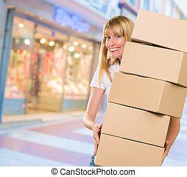 cajas, mujer, pila, tenencia
