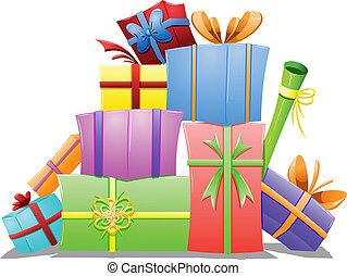 cajas, pila, regalo