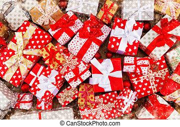 cajas, pila, regalo de navidad