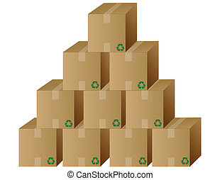 cajas, vector, pila, /