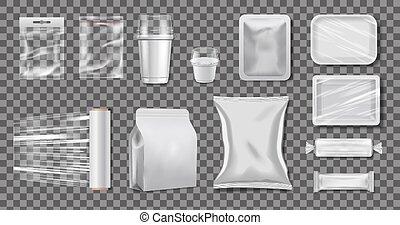 cajas, vector, polietileno, realista, packaging., paquete, celofán, mockup, transparente, plástico, cups.