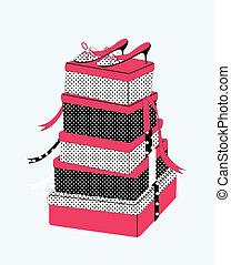cajas, zapato