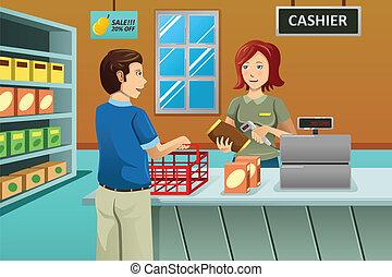 cajero, trabajando, en, el, tiendade comestibles