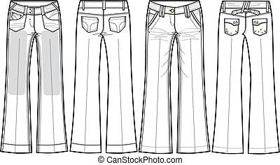 cajgvászon jeans, bootcut