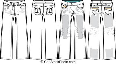 cajgvászon jeans, hölgyek