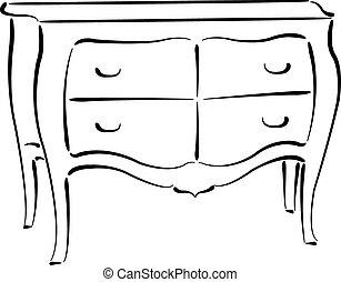 cajones, pecho, blanco, aislado, sketched