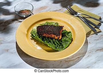 Cajun Blackened Salmon Steak - Cajun cuisine blackened ...