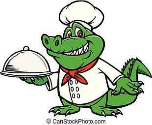 Cajun Chef - A cartoon illustration of a Gator with a Chef ...