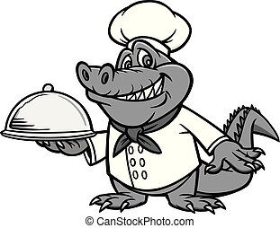 A cartoon illustration of a Gator with a Chef Hat.