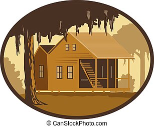 Retro wpa style illustration of a typical Cajun house, a country French architecture found in Louisiana and across the American southeast, maritime Canadian areas set in oval on isolated background.