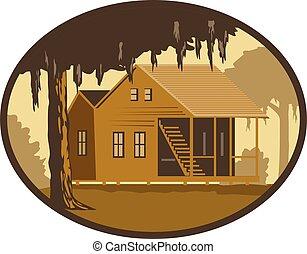 cajun-house-tree-OVAL-WPA - Retro wpa style illustration of ...