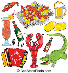 Cajun Icons and clipart - Cajun Food, Music and drinks...