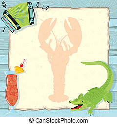 Fun Cajun lobster boil party invitation with accordion, alligator, hurricane cocktail and a lobster silhouette on vintage paper and a weathered blue wood background.