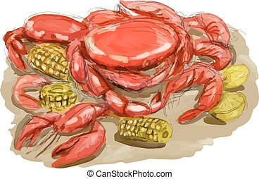 Watercolor sytle illustration of Cajun seafood shwoing shrimp, crawfish and crab with lemon and corn cob set on isolated white background.