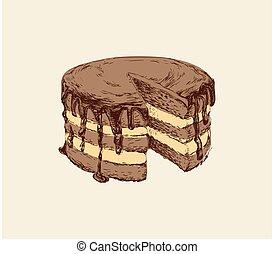 Cak Hand Drawn Vector Sketch Illustration Sweet Dessert.