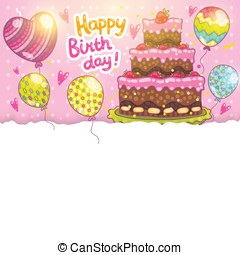 cake., 생일 카드, 배경, 행복하다