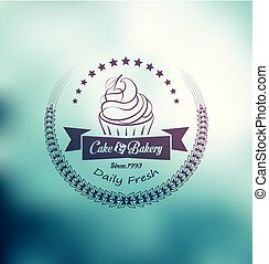 Cake and bakery label with laurel wreath