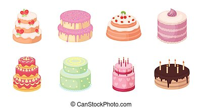 Cake and dessert icons in set collection for design. Holiday cake vector symbol stock web illustration.