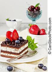 cake and fresh fruit